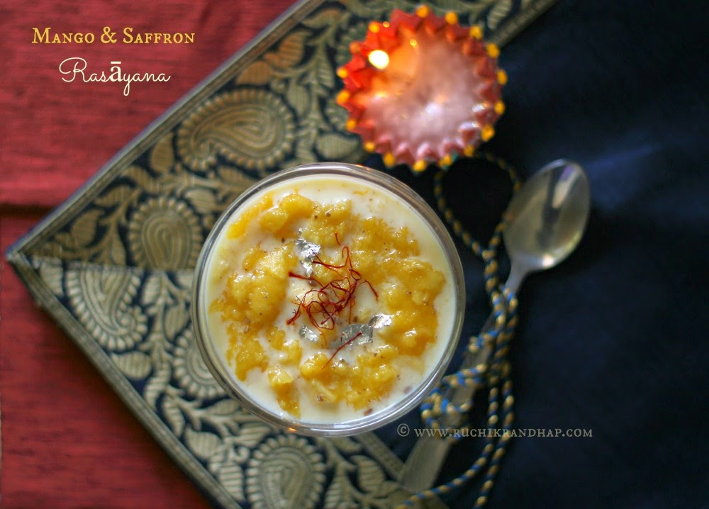 mango & saffron rasāyana ~ diwali dessert ~ easy & simple recipe