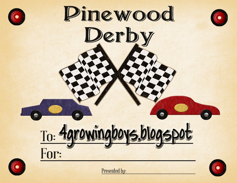here is my original post when we used this certificate it was a couple of years ago so fun to look through those old pictures - Pinewood Derby Certificate Templates