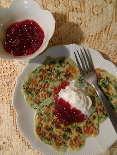 Plate of Pancakes, Sour Cream, and Lingonberry Preserves