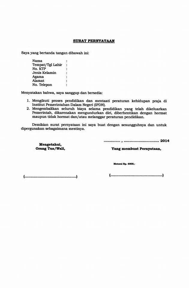Contoh Format Biodata Diri Dan Surat Pernyataan Ipdn 2014