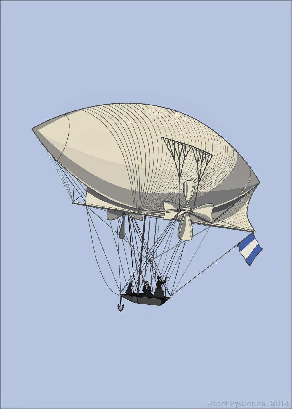 The Seeker victorian air ship dirigible adobe illustrator by Josef Spalenka 2014