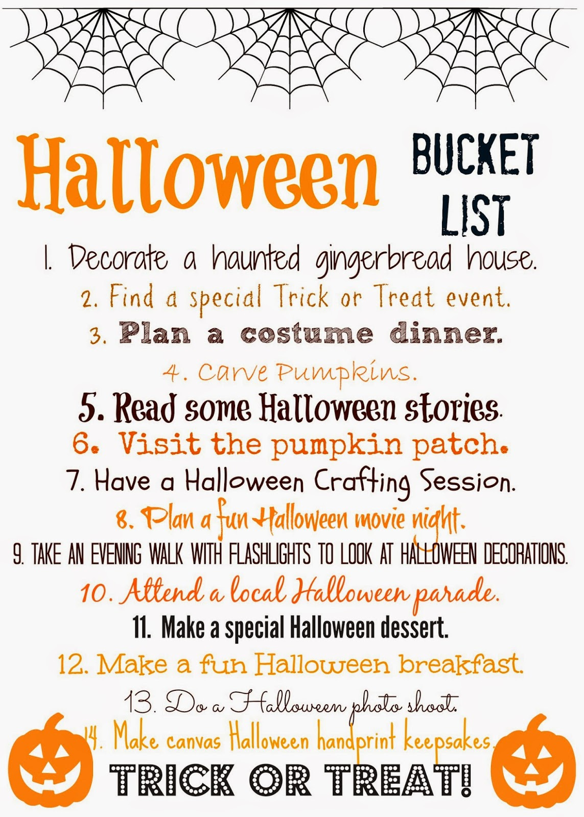 Halloween Bucket List (Free Printable) : The Chirping Moms