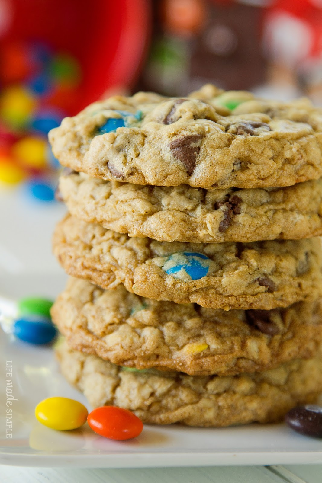 Life Made Simple: M&M Chocolate Chip Oatmeal Cookies
