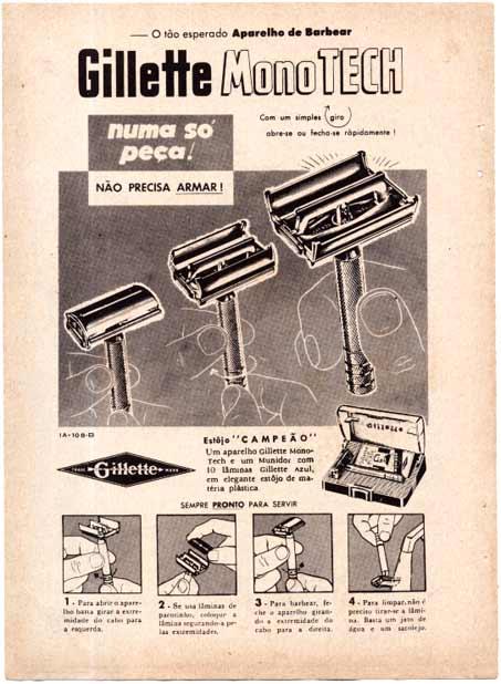 Lâmina de barbear Gillette MonoTech apresentada nos anos 50.