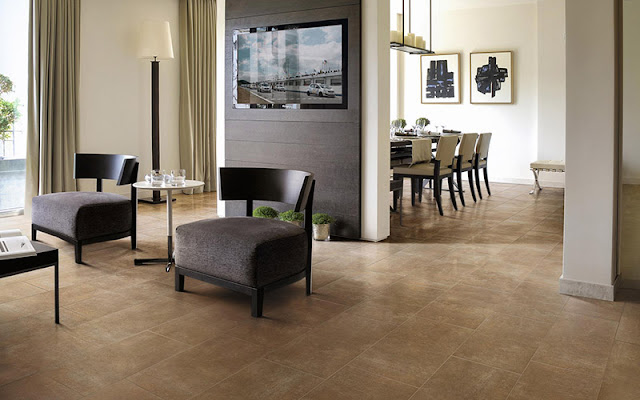 Continuous tile flooring between dining and family room