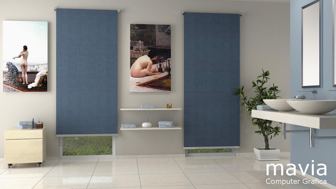 Esterni 3d,Rendering 3d,Architettura 3d: Bagni in muratura design moderno, pa...