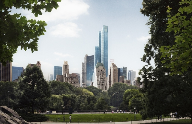 Rendering of One 57 by Christian de Portzamparc from Central Park showing it towering above all