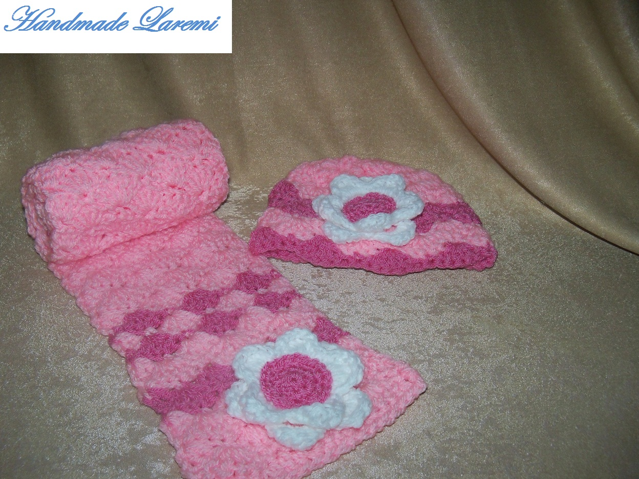 crochet hat and scarf for baby Pink hand crochet baby hat and scarf Crochet Hats And Scarves For Kids