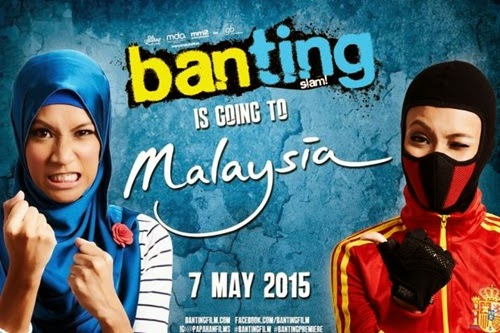 Sinopsis filem Banting, review kisah gusti wanita berhijab filem Banting, gambar filem Banting, pelakon dan watak dimainkan dalam filem Banting, filem baru genre komedi tahun 2015, Yasmin - Izyan Mellyna, Halimah - Mastura Ahmad, filem terbaru
