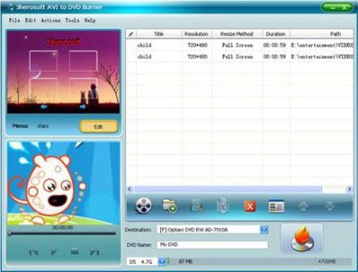 3herosoft AVI to DVD Burner 3.9.8.1216