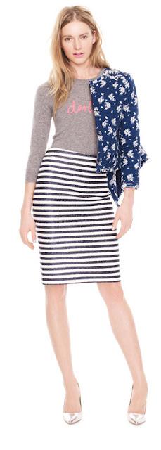 Pattern mixing, stripe skirt, floral jacket