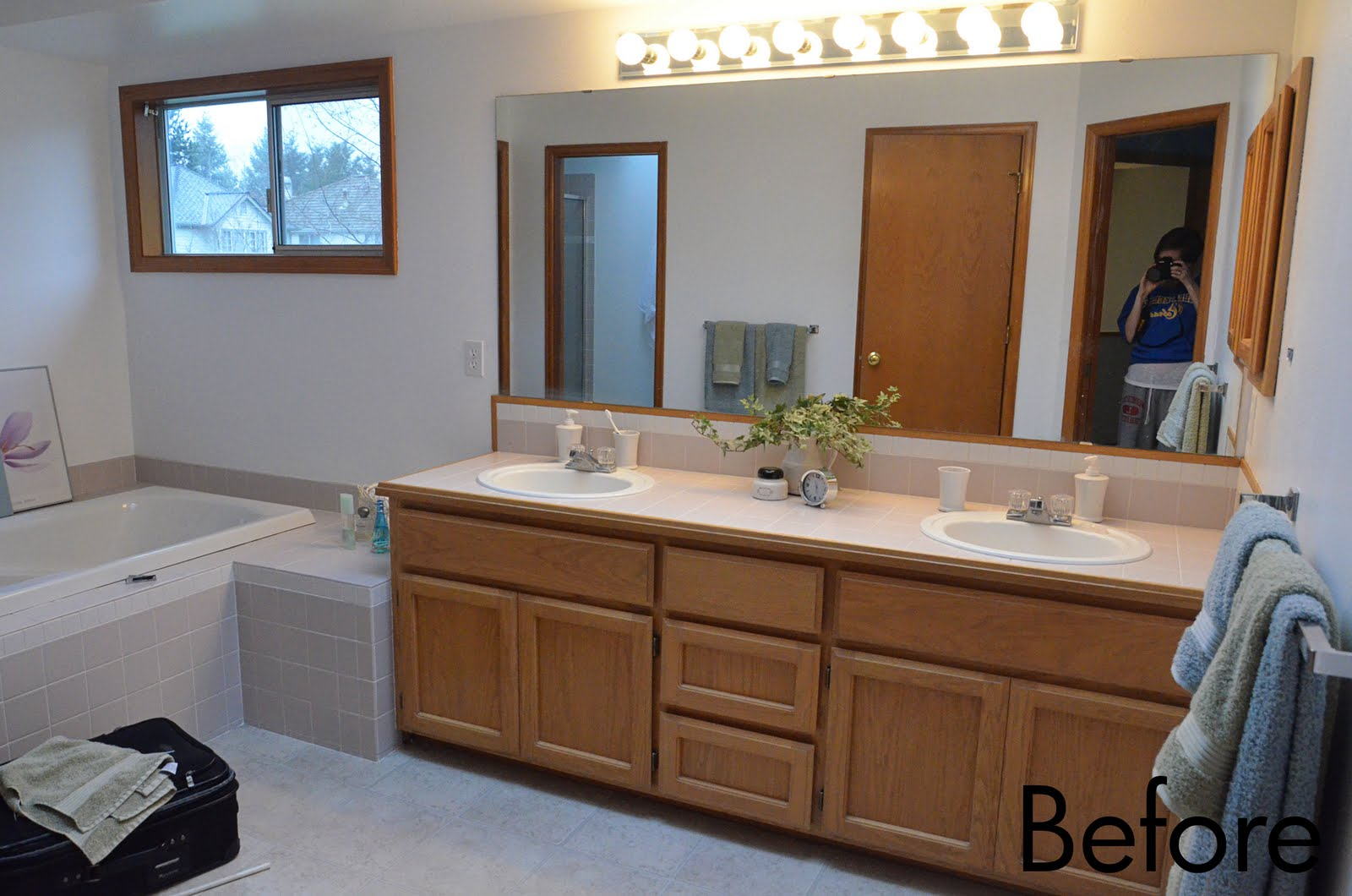 The allison wonderland the bathroom remodel is over well for Bathroom ideas with oak cabinets
