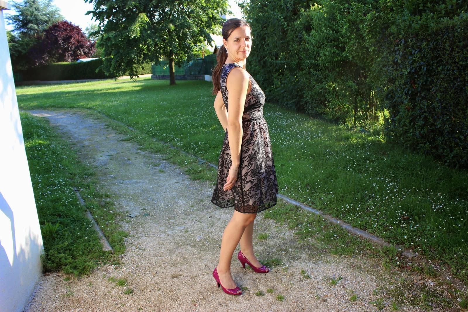 Robe Naf Naf, chaussures vernies roses André