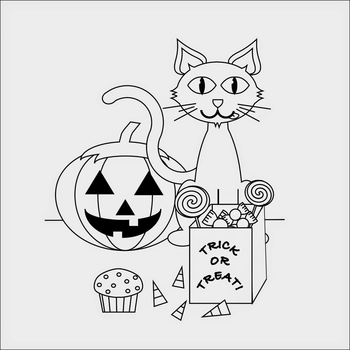 Free black cat coloring pages halloween