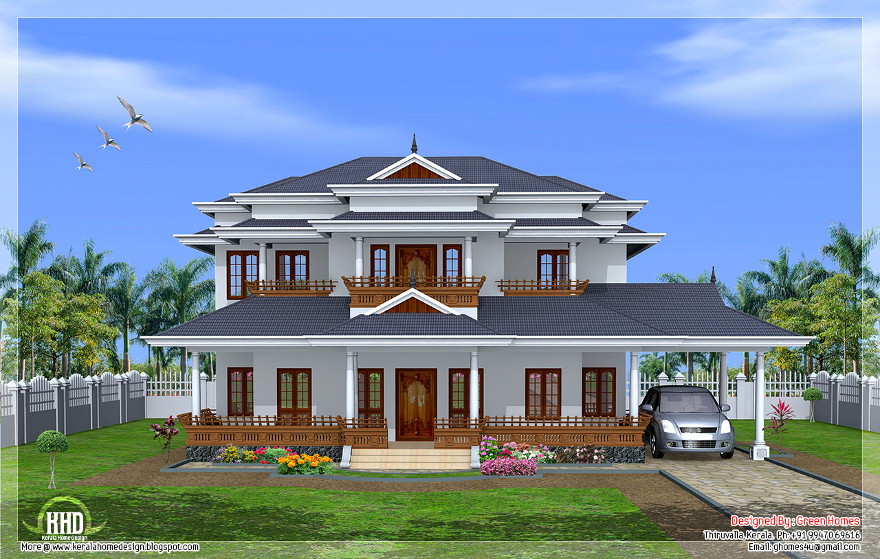 Luxury 5 bedroom kerala style home design kerala house for Kerala home style 3 bedroom
