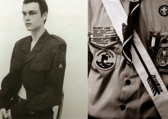 cf. Christian Dior SS 2014 Blue Military Jackets With Shield Patch Embroidered Badges