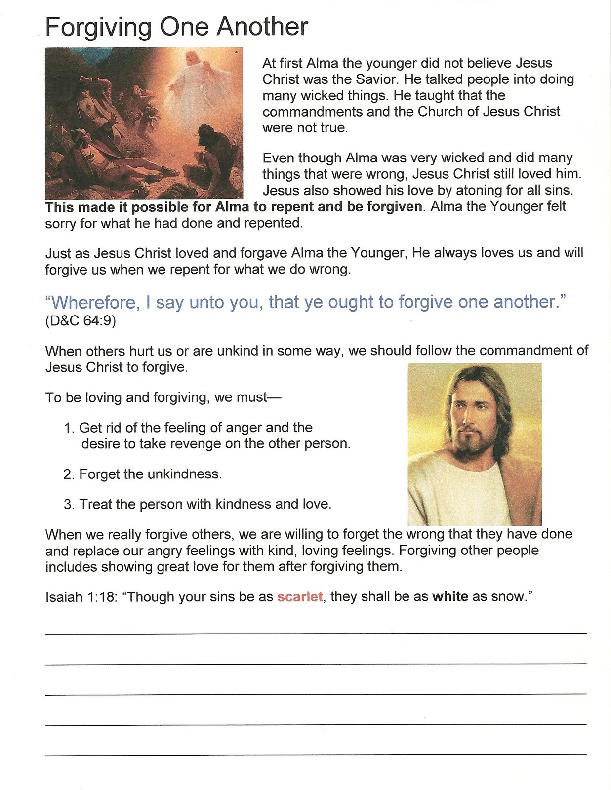 Primary 3 Lesson 23 Forgiving One Another Journal Page