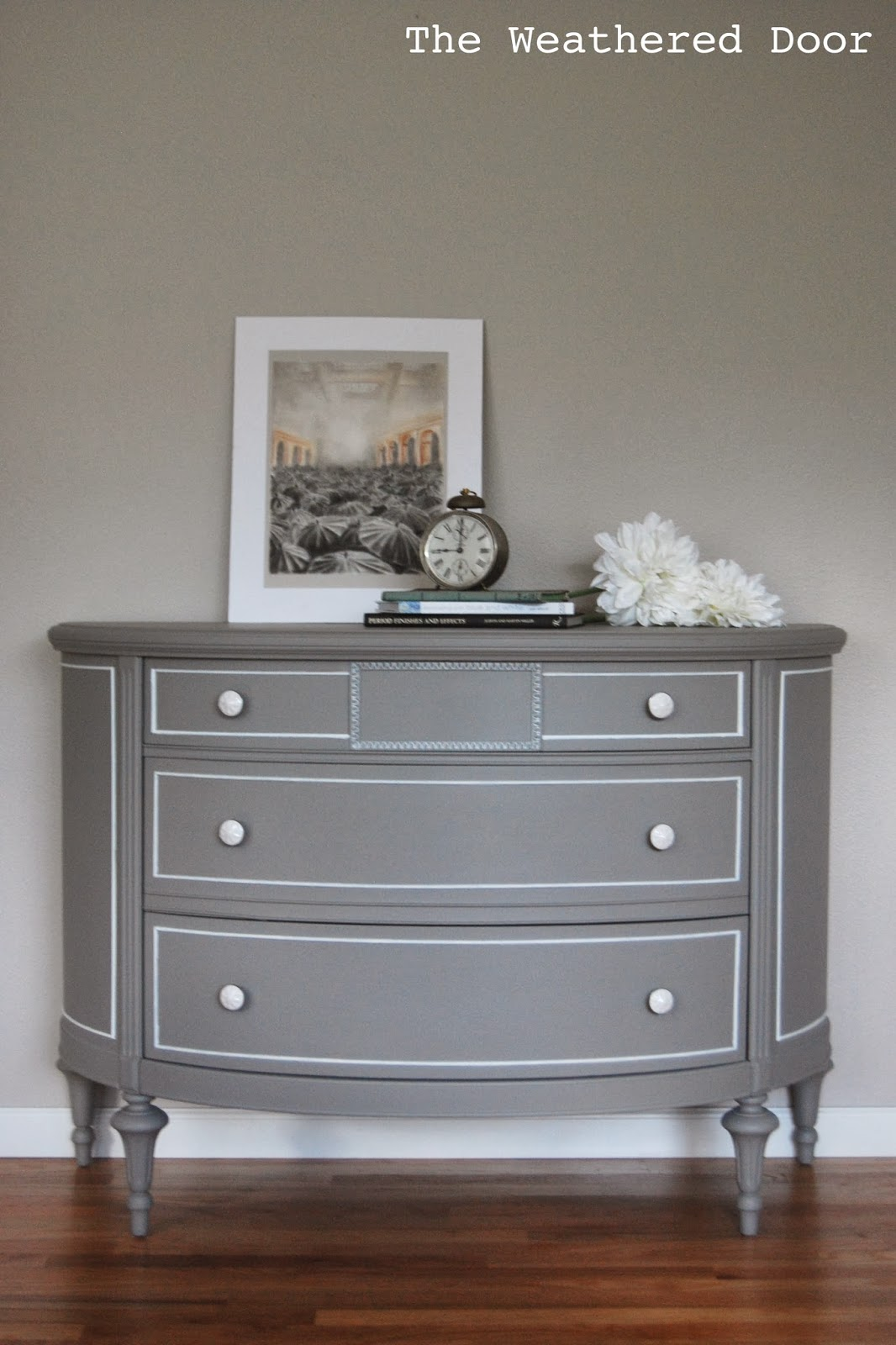 A Grey Demi Lune Dresser With White Accents  The. Deep Bathroom Sink. Industrial Cart Coffee Table. Swimming Pool Ideas. Wood Mode Cabinets. Chandelier Fan. Contemporary Couches. Painted Dining Chairs. Mini Pendant Lights