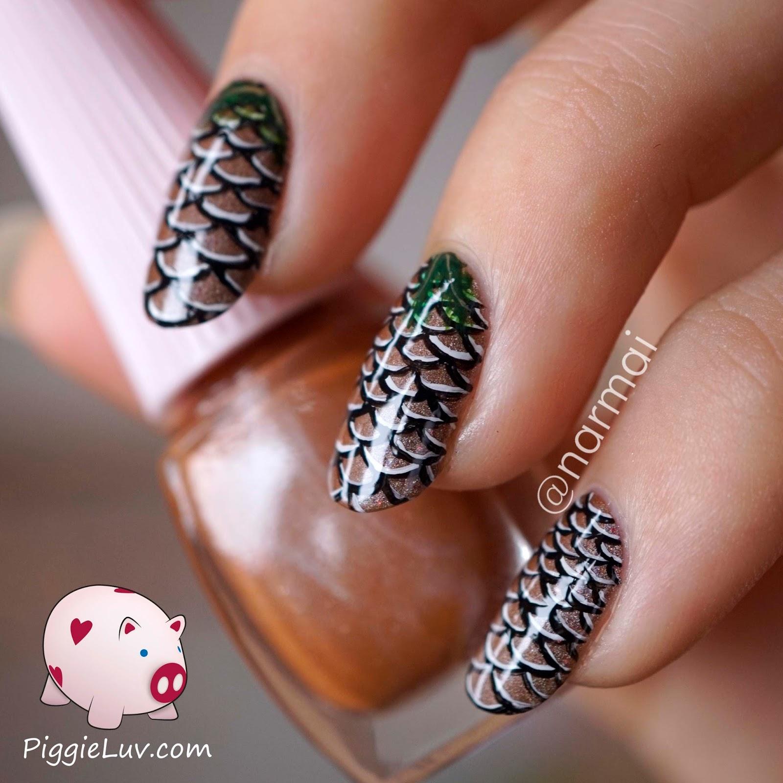 PiggieLuv: Pine cone nail art + video tutorial