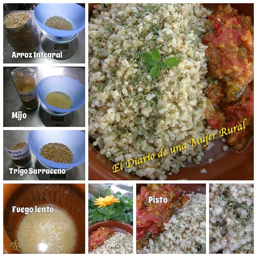 Arroz, mijo y trigo sarraceno con pisto