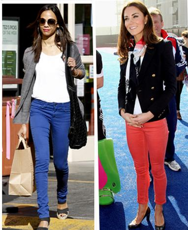 ... purple jeans and actress Zoe Saldana in bright blue jeans who both chose ...