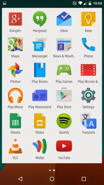 Android Lollipop Menu 1