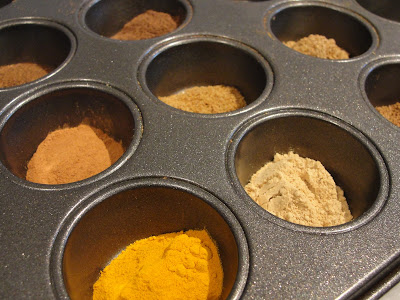 indian spices in mini muffin tin