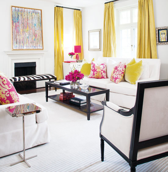 Edyta co ineterior design chartreuse in interior design for Black and pink living room designs