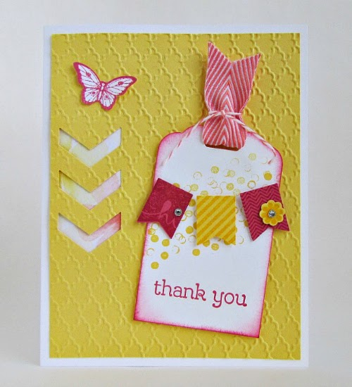 Cute mini tag with tiny banner on this Thank You card! #cardmaking #papercrafts #StampinUp
