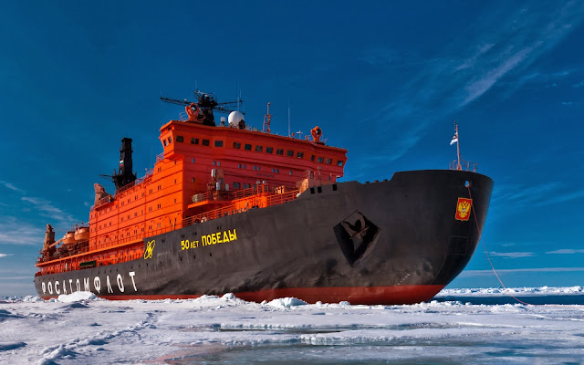 Cargo Ship In Winter Wallpaper