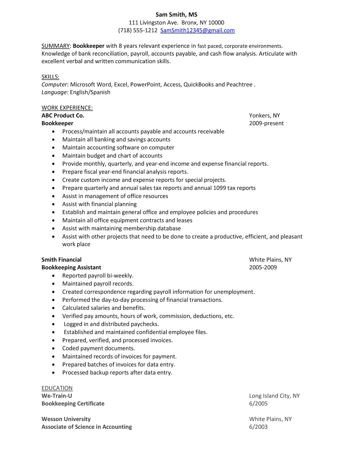 Sample Resume Bookkeeper