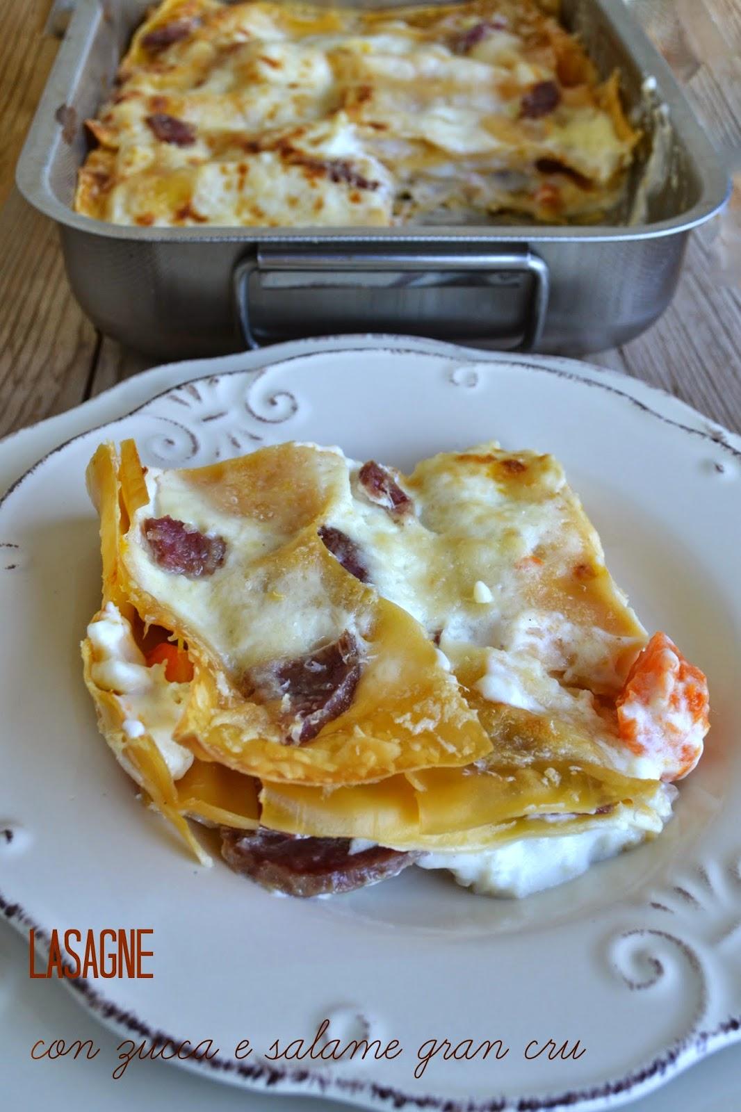 lasagne con zucca e salame