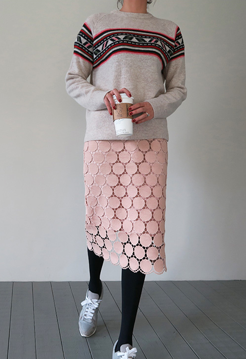 Dot Lace Overlay Skirt