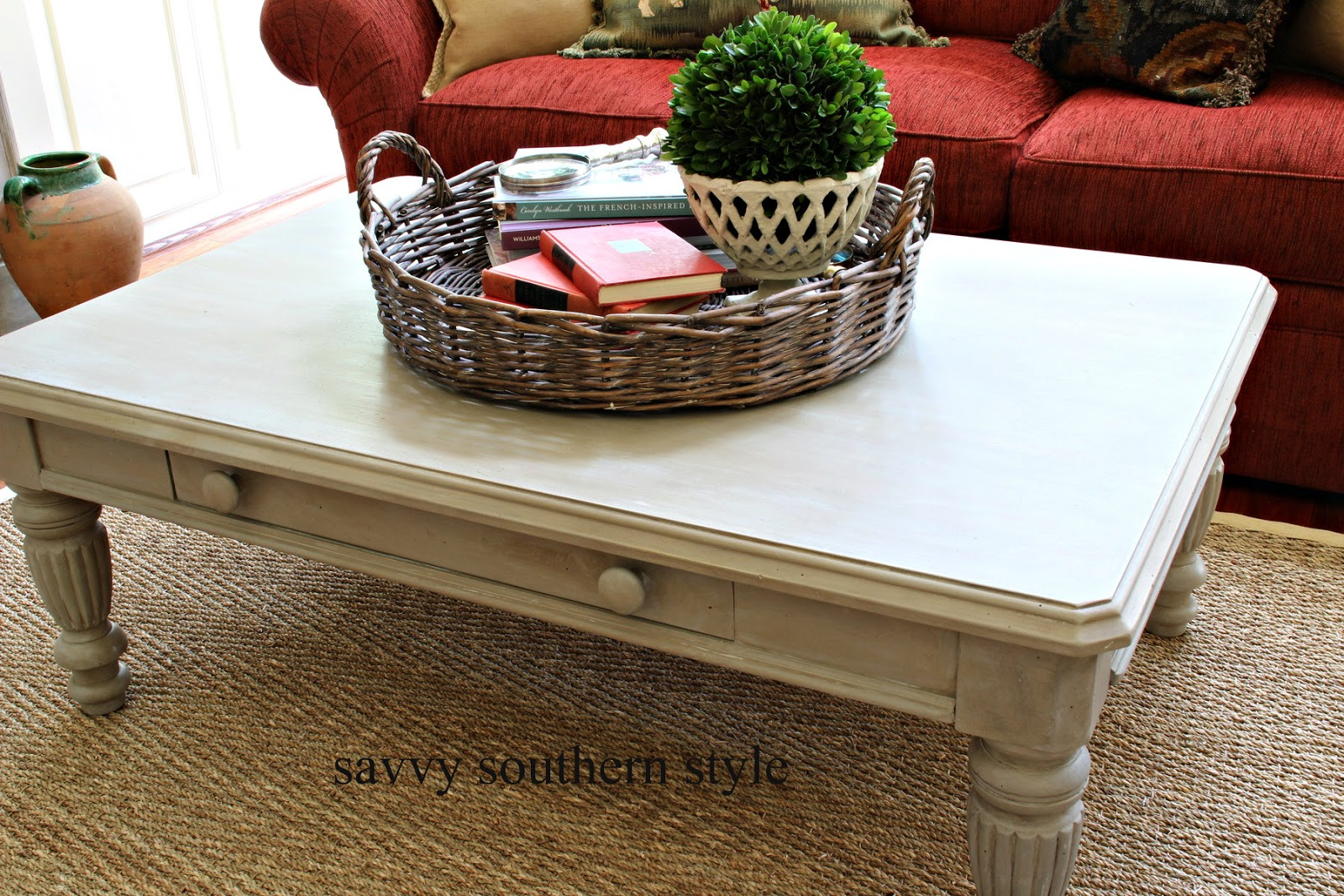 Savvy southern style its only paint coffee table makeover geotapseo Image collections
