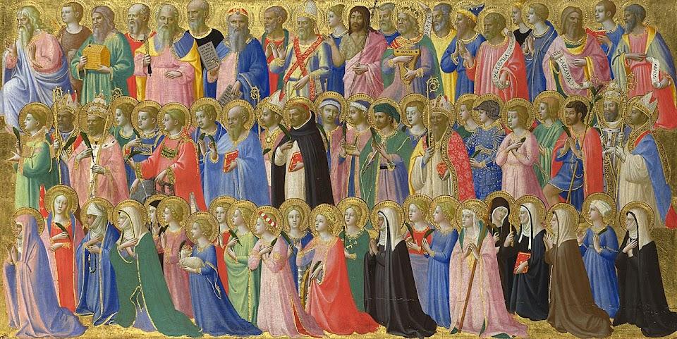Os Santos no Céu. Predella della pala di Fiesole, detalhe. National Gallery de Londres. Fra Angelico (1395 – 1455).