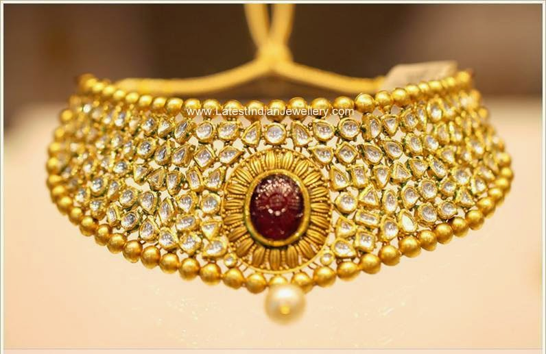 Polki Diamond Gold Bridal Choker