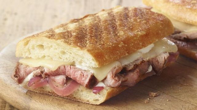 Steak & White Cheddar Panini - Strips of seared steak with ...