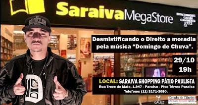 O rapper Cronica Mendes vai esta Amanhã 29/10 na Livraria Saraiva da Avenida Paulista