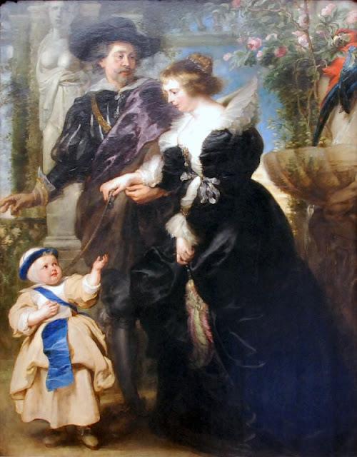 His Wife Helena Fourment and One of Their Children, Peter Paul Rubens, Baroque Painting