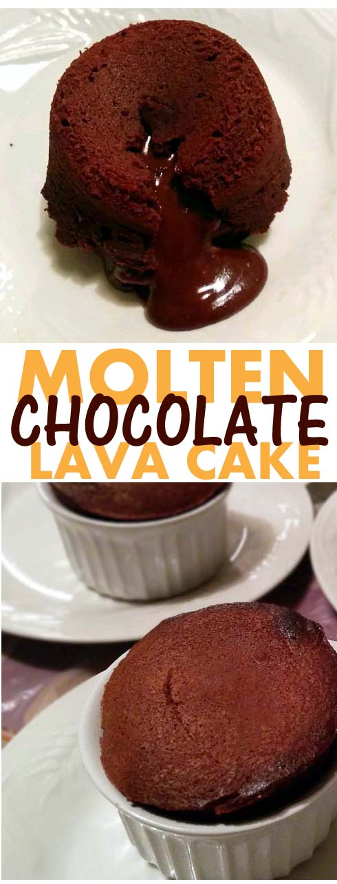 Molten Chocolate Lava Cake. That chocolate filling oozing out when you cut through the cake. Or you can always just eat it out of the ramekin. And best of all, the recipe is easy to follow.