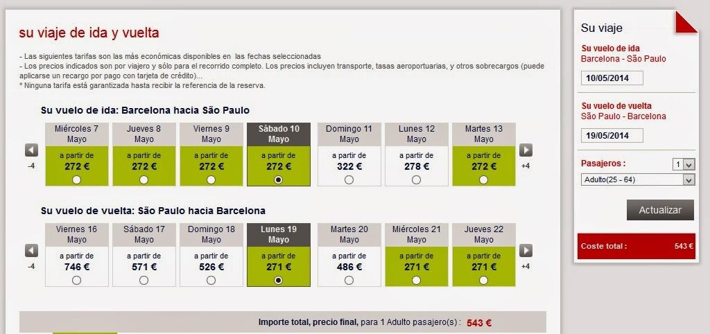 Oferta de vuelos Barcelona Sao Paulo