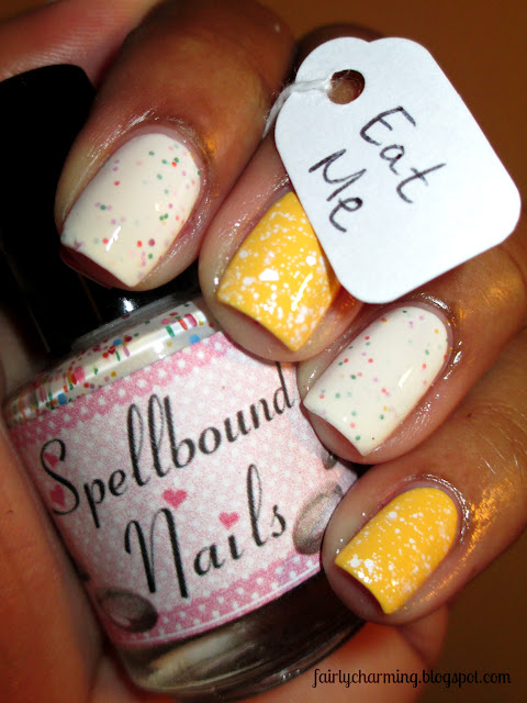 Spellbound Nails, Alice in Wonderland, Down the Rabbit Hole, Upelkuchen, Pishsalver, funfetti cake, yellow, white glitter, glitter, nails, nail art, nail design, mani