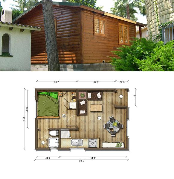 Casas de madera en espa a plano casa madera 25 m2 - Casas de madera planos ...