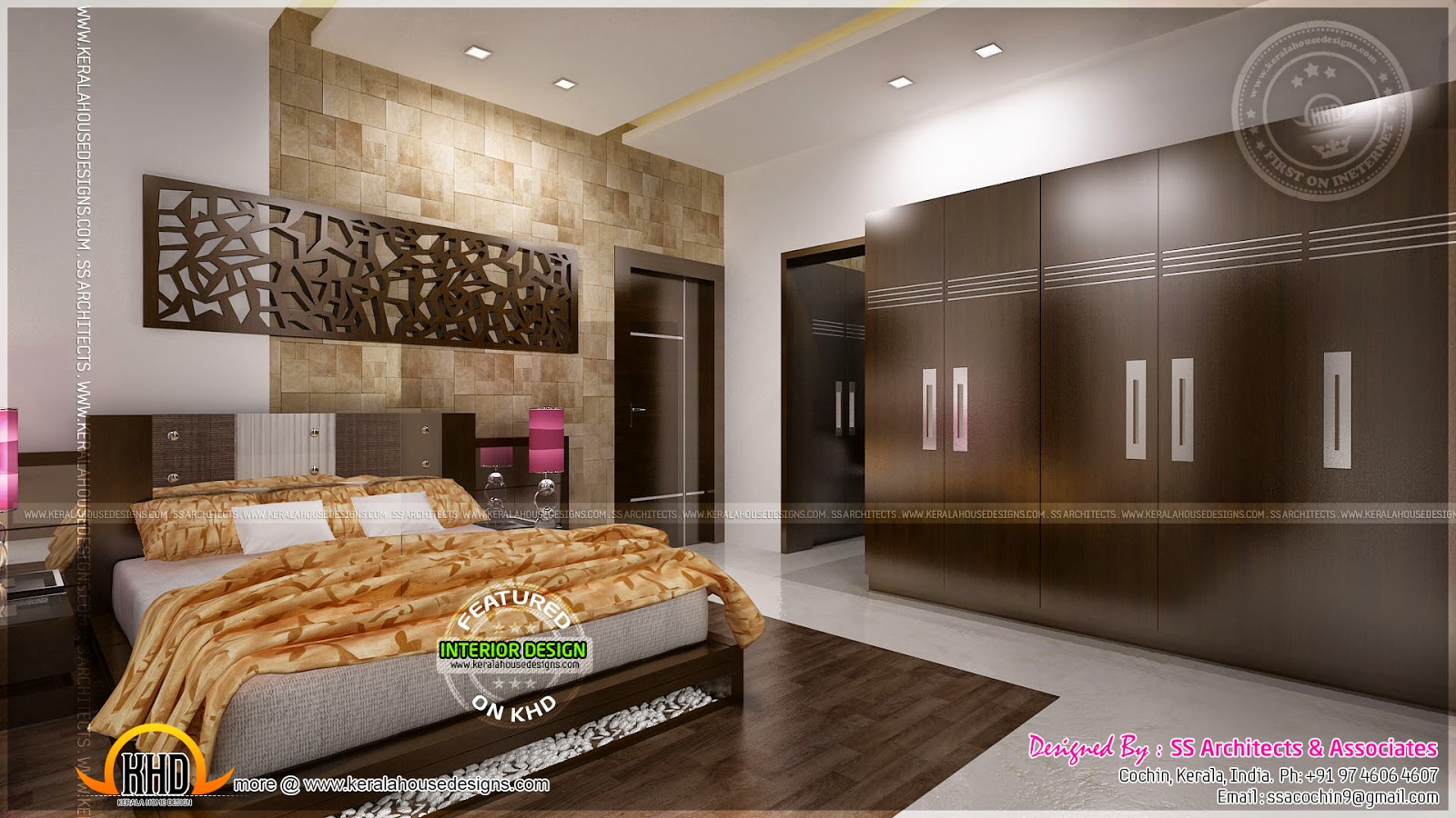 Awesome master bedroom interior kerala home design and for Interior house plans with photos