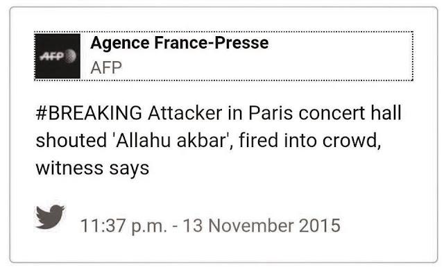"Framing berita AFP dalam akun Twitternya, mengutip adanya teriakan ""Allahu Akbar."""