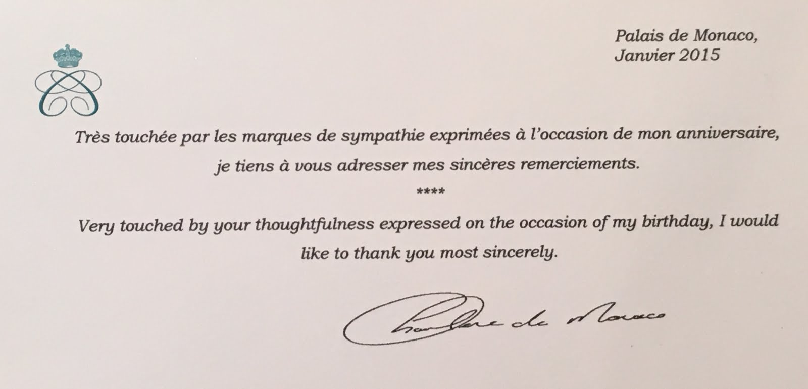 gert s royals princess charlene thank you birthday note the note is bi lingual written in both french and english the two commonly spoken languages in