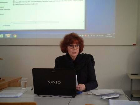 Dr. Anne MacDonald during her presentation at the Buddhist Translation workshop.