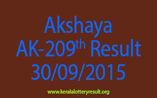 Akshaya AK 209 Lottery Result 30-9-2015