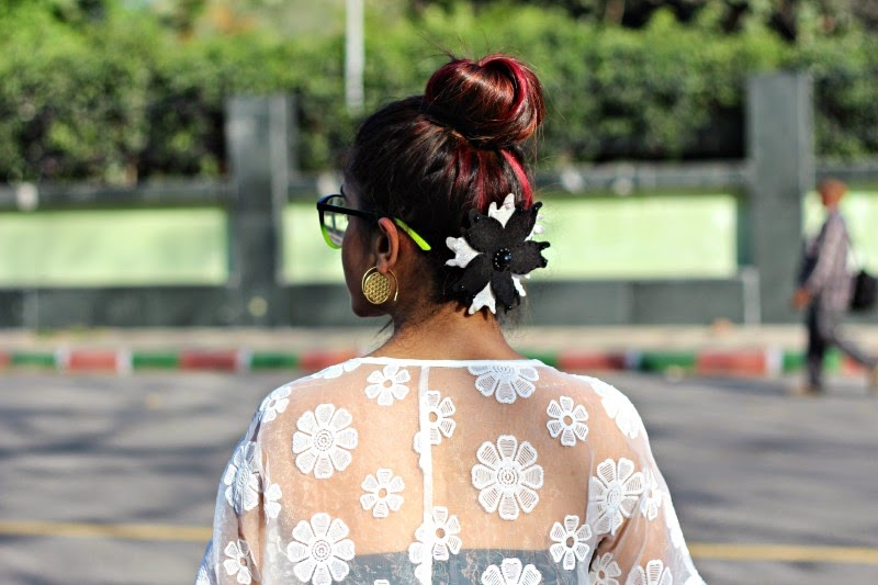 floral hair accessory, bun , updo