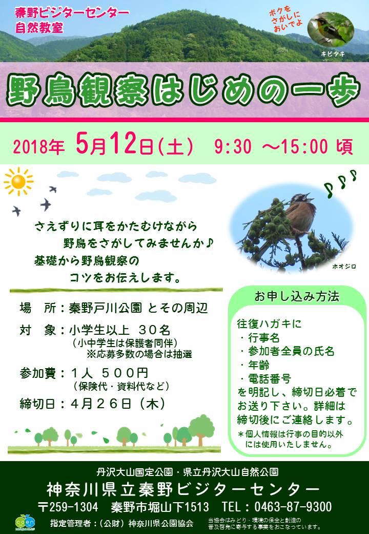 自然教室「野鳥観察はじめの一歩」申込受付中!